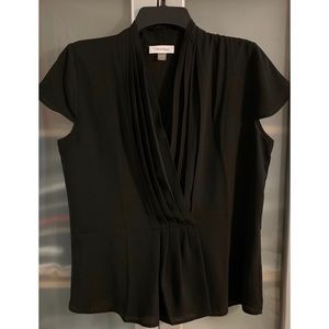 Calvin Klein Pleated Surplice Neck Blouse